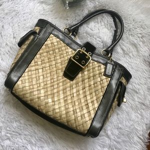 Coach Limited Edition straw leather boxy tote bag